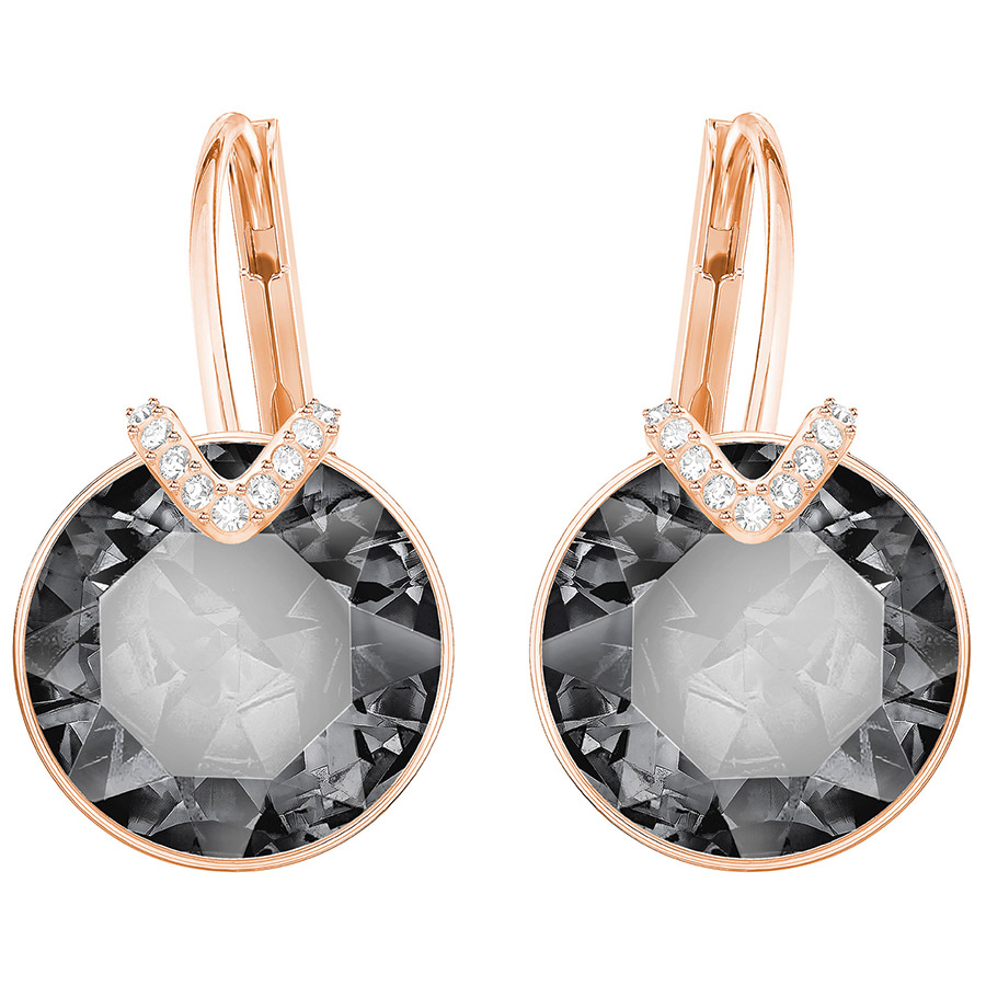 Swarovski-Bella-V-Pierced-Earrings-Large-Gray-Rose-gold-plating-5353202