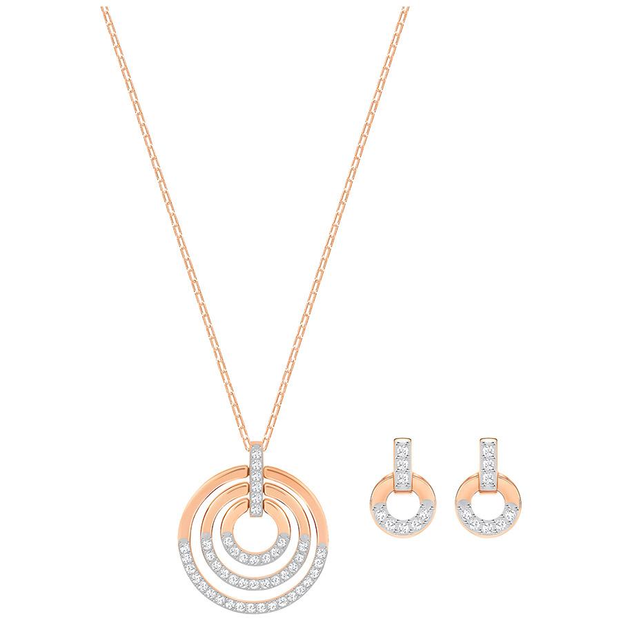 Swarovski-Circle-Set-Medium-White-Rose-gold-plating-5367890