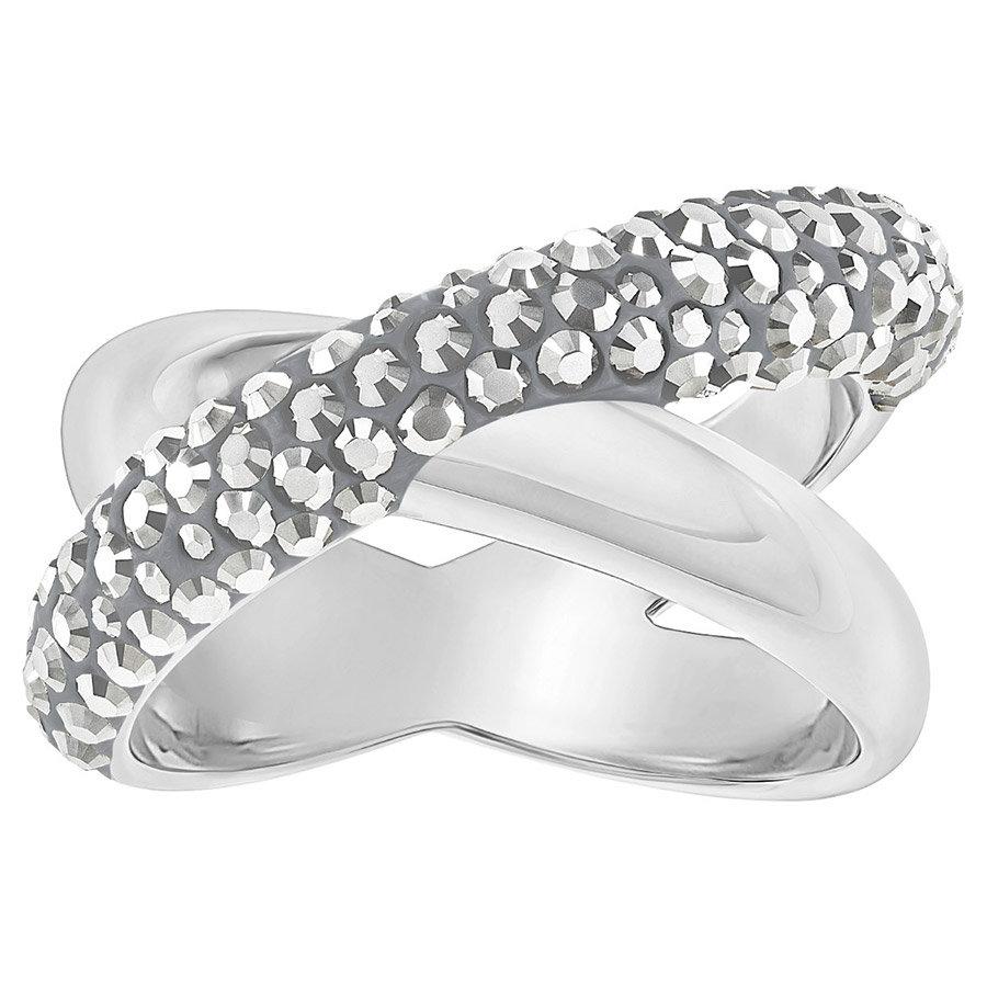 Swarovski-Crystaldust-Cross-Ring-Gray-Palladium-plating-5348408