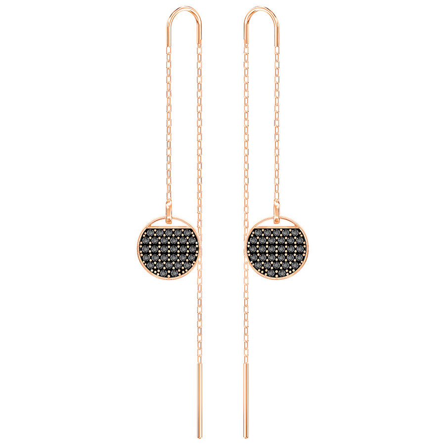 Swarovski-Ginger-Chain-Pierced-Earrings-Gray-Rose-gold-plating-5347293