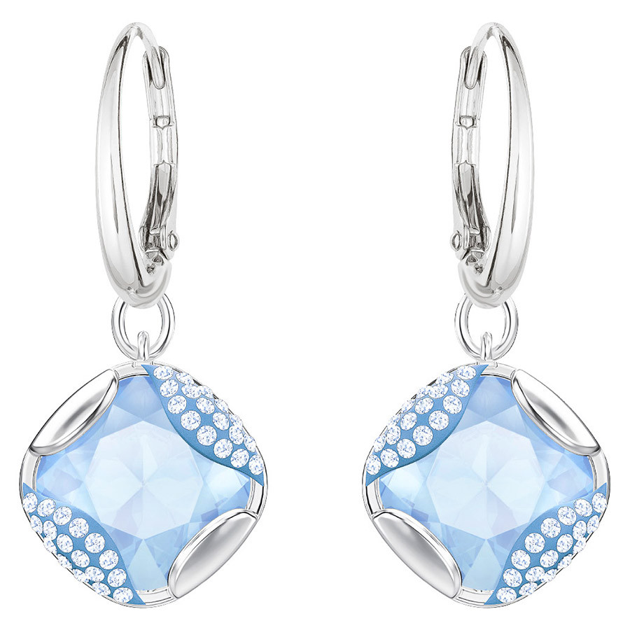 Swarovski-Heap-Square-Pierced-Earrings-Blue-Rhodium-plating-5351135