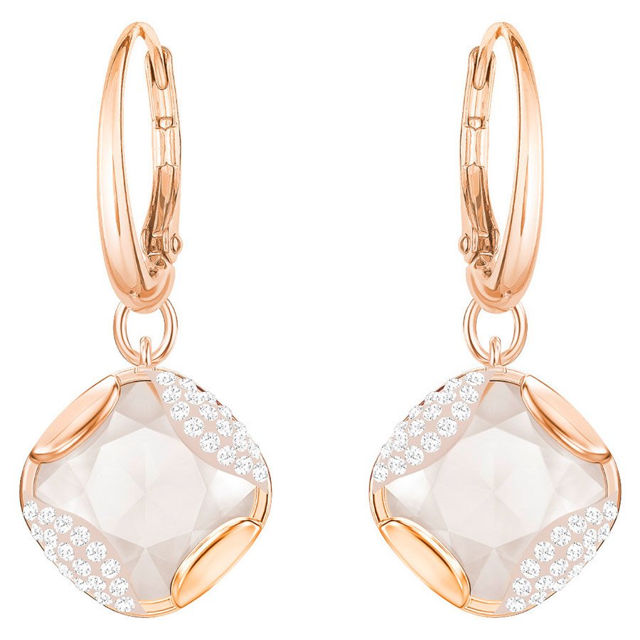 Swarovski-Heap-Square-Pierced-Earrings-Multi-colored-Rose-gold-plating-5364315