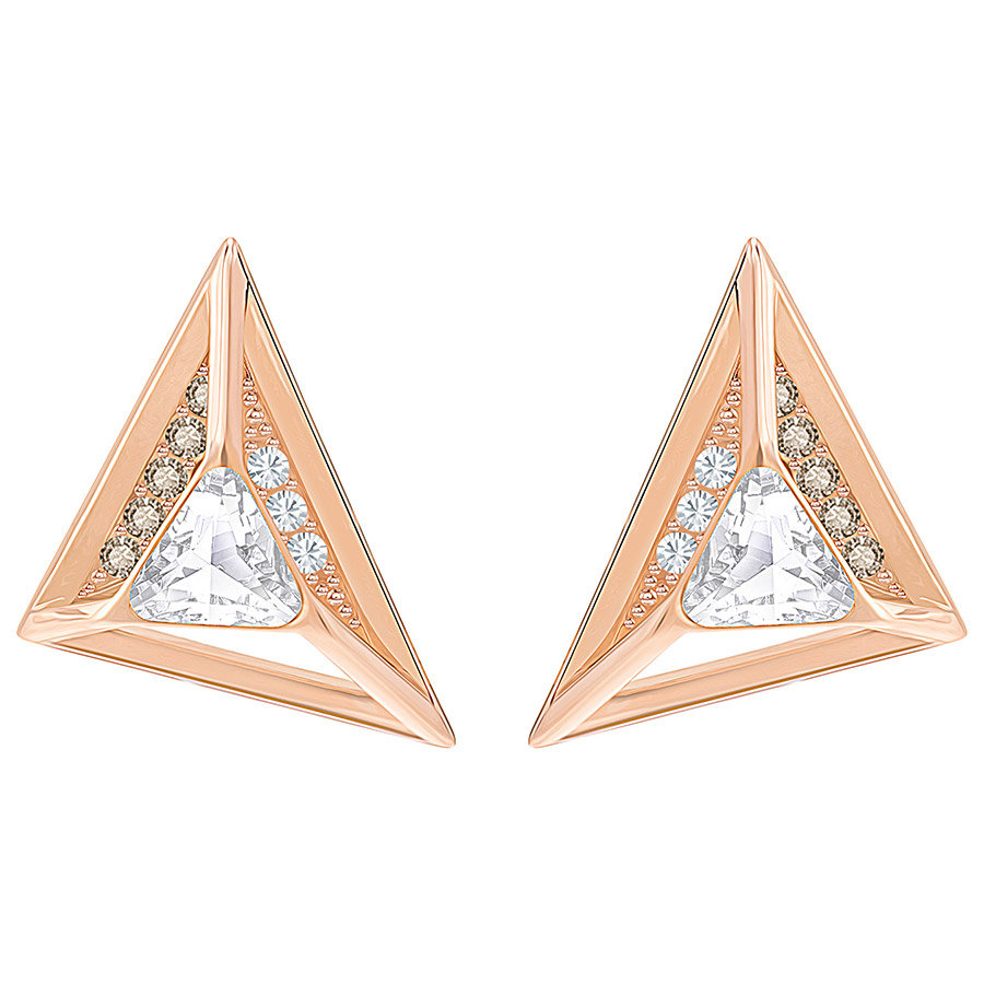 Swarovski-Hillock-Triangle-Pierced-Earrings-White-Rose-gold-plating-5351079