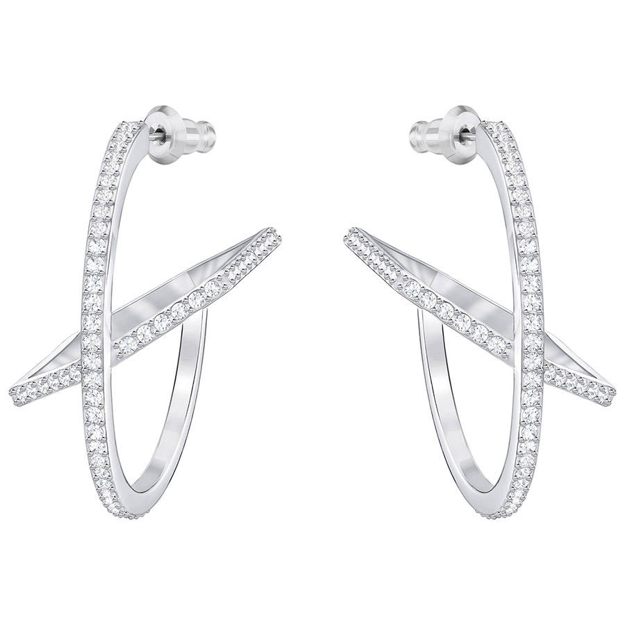 Swarovski-Hoop-Fever-Pierced-Earrings-White-Rhodium-plating-5352009